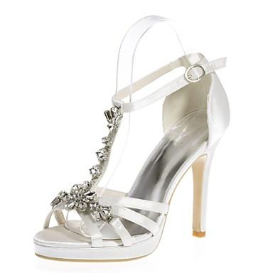 des chaussures sandales base satin printemps / été pompe talon bout aiguille bout talon ouvert les Rouge  / champagne / ivoire / mariage b21728
