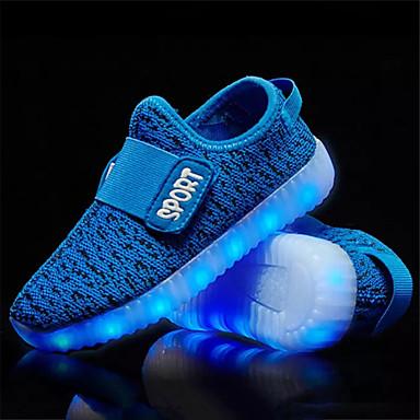 Para Meninos sapatos Tecido Primavera Outono Conforto Tênis com LED Tênis Velcro LED para Preto Laranja Vermelho Azul
