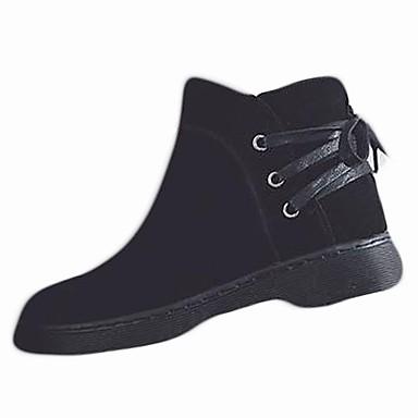 Damskie Obuwie Nubuk / PU Jesień / Zima Comfort / Modne obuwie Buciki Block Heel Okrągły Toe Black