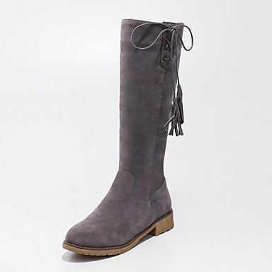 9802ee33f5b Women s Shoes Leatherette Winter Riding Boots Boots Low Heel Round Toe Knee  High Boots Gray   Brown   Green