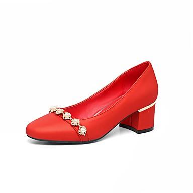 בגדי ריקוד נשים נעליים דמוי עור אביב / קיץ נוחות עקבים עקב עבה בוהן מרובעת פנינים כסף / אדום / ירוק / חתונה / שמלה