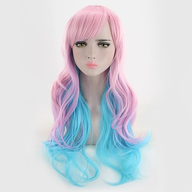 פאות סינתטיות גלי / Body Wave שיער סינטטי סגול פאה בגדי ריקוד נשים ללא מכסה