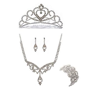בגדי ריקוד נשים סט תכשיטים - יהלום מדומה פפיון ארופאי, אופנתי לִכלוֹל נזרים סטי תכשיטי כלה לבן עבור חתונה Party