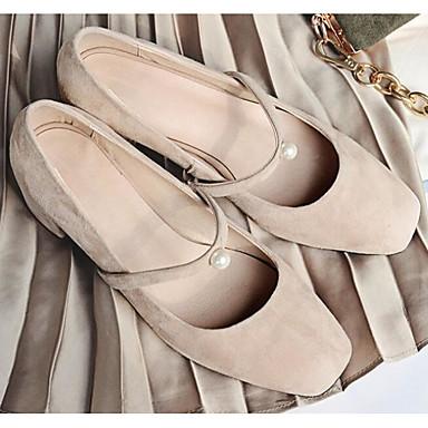 בגדי ריקוד נשים נעליים עור נובוק / עור אביב / סתיו נוחות עקבים עקב נמוך שחור / בז' / אפור