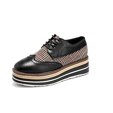 Mulheres Sapatos Couro Ecológico Primavera / Outono Conforto / botas de desleixo Tênis Caminhada Sem Salto Ponta Redonda Cadarço Preto /