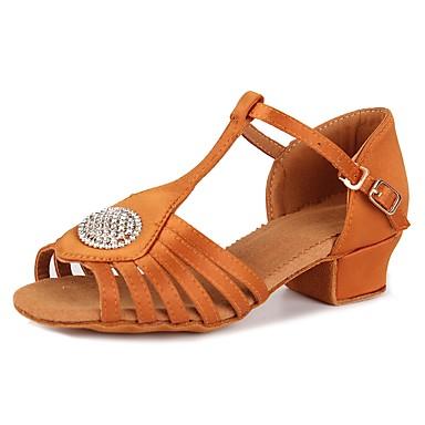 נעליים לטיניות סטן / נצנצים סנדלים / עקבים ריינסטון / אבזם עקב עבה מותאם אישית נעלי ריקוד חום כהה
