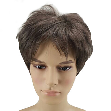 פאות סינתטיות מתולתל פיקסי קאט שיער סינטטי חום פאה קצר ללא מכסה Beige