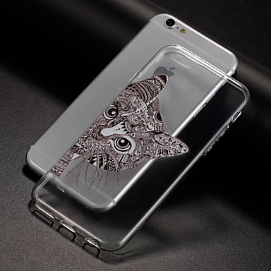 Capinha Para Apple iPhone 8 iPhone 8 Plus iPhone 6 iPhone 7 Plus iPhone 7 Estampada Capa traseira Gato Macia TPU para iPhone 8 Plus