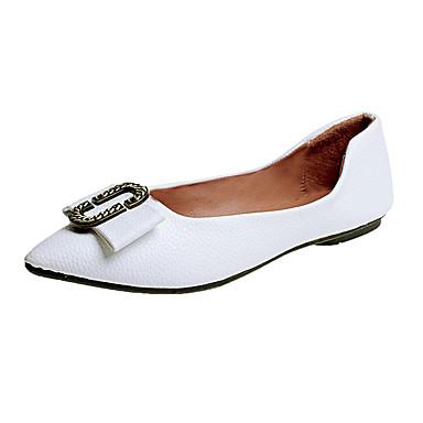 בגדי ריקוד נשים נעליים PU אביב נוחות שטוחות שטוח בוהן מחודדת פפיון שחור / שקד / ורוד בהיר