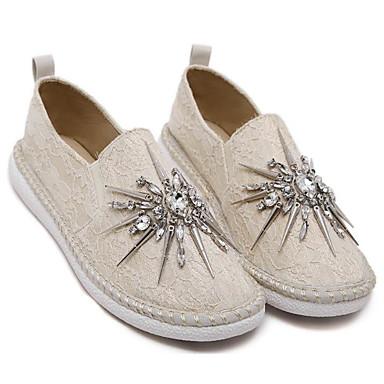 בגדי ריקוד נשים נעליים PU אביב / סתיו נוחות נעליים ללא שרוכים שטוח אפור / שקד