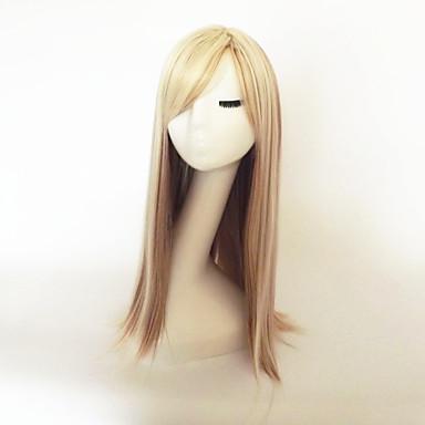פאות סינתטיות Kinky Straight בלונד עם פוני שיער סינטטי שיער מובהר בלונד פאה ארוך ללא מכסה
