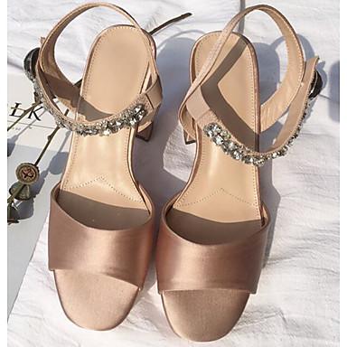 בגדי ריקוד נשים נעליים משי אביב / קיץ נוחות סנדלים עקב עבה שחור / אדום / שקד