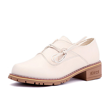 בגדי ריקוד נשים נעליים PU אביב / קיץ נוחות נעלי אוקספורד שטוח בוהן עגולה אפור / שקד