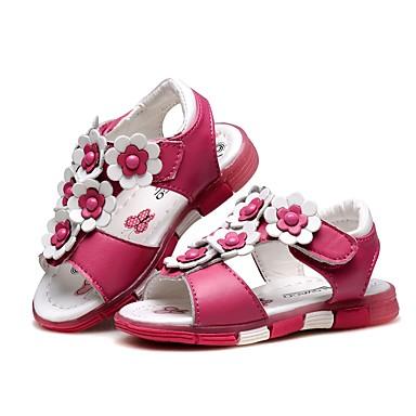 בנות נעליים עור קיץ נוחות / צעדים ראשונים סנדלים פרח / סקוטש ל לבן / אפרסק / ורוד