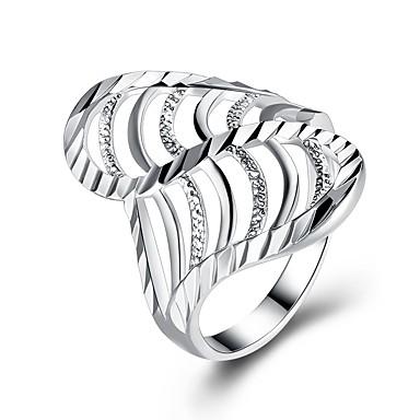 בגדי ריקוד נשים זירקונה מעוקבת טבעת הטבעת - מצופה כסף אופנתי 6 / 7 / 8 כסף עבור מתנה / יומי