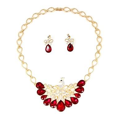 בגדי ריקוד נשים סט תכשיטים - ציפוי זהב בוהמי, אופנתי לִכלוֹל סטי תכשיטי כלה אדום כהה עבור חתונה / יום הולדת