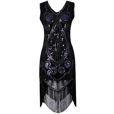 547c2a45ae36 1920s The Great Gatsby Costume Women's Flapper Dress Black / Golden Vintage  Cosplay Party Prom Short