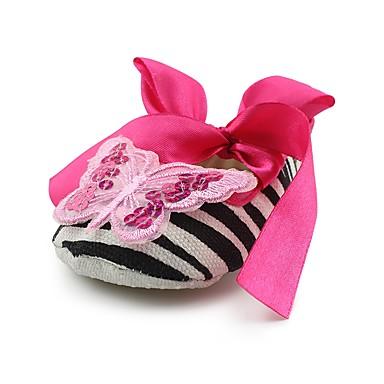 baratos Sapatos de Criança-Para Meninas Tecido Rasos Crianças (0-9m) Conforto / Primeiros Passos / Sapatos de Berço Laço / Apliques / Cadarço de Borracha Rosa claro Primavera / Outono / Casamento / Listrado / Casamento