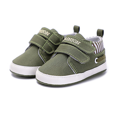 baratos Para Crianças de 0-9 Meses-Para Meninas Tecido Rasos Crianças (0-9m) Conforto / Primeiros Passos / Sapatos de Berço Velcro Vermelho / Verde / Azul Primavera / Listrado / Slogan