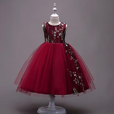 お買い得  女児 ドレス-子供 女の子 誕生日 お出かけ ソリッド 贅沢 ノースリーブ コットン ポリエステル ドレス ブラック / キュート / プリンセス