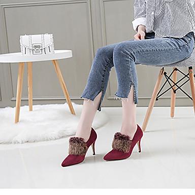 Vert Hiver Plume à Femme Noir Automne Flocage Talon Bottes Fourrure la Bottes Chaussures Aiguille Mode Bout 06532580 pointu Plume HwX5qT