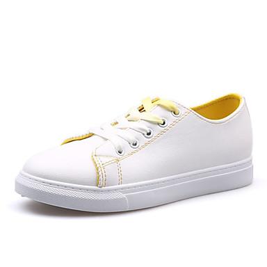 בגדי ריקוד נשים נעליים PU אביב נוחות נעלי ספורט שטוח בוהן עגולה שחור / צהוב / ירוק