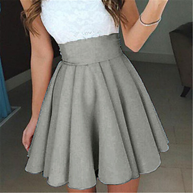 Women's Daily Going out Mini Skirts,Vintage Street chic A Line Polyester Spandex Solid All Seasons