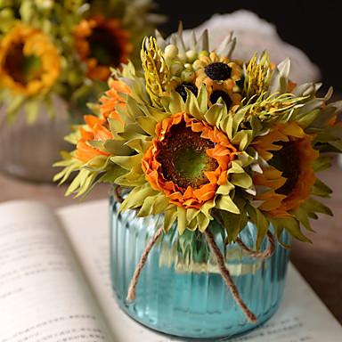 פרחים מלאכותיים 6 ענף רטרו חמניות פרחים לשולחן