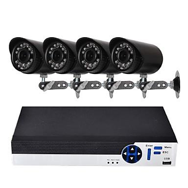 4ch 1080n ahd dvr Überwachungskamerasystem mit 4 wetterfesten 1.0mp Kameras mit Nachtsicht