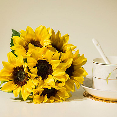 פרחים מלאכותיים 6 ענף פסטורלי סגנון חמניות פרחים לשולחן