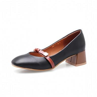 בגדי ריקוד נשים נעליים דמוי עור אביב / סתיו נוחות / חדשני עקבים עקב עבה בוהן מרובעת פפיון שחור / צהוב / שקד / שמלה