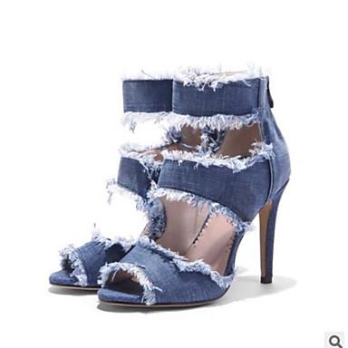 Chaussures jean Eté 06531726 Confort Bleu Talon Sandales Bout Femme Oa1xTY4q