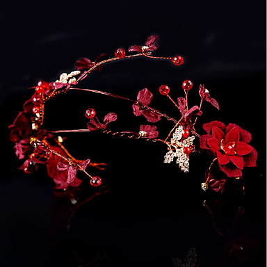 בד / סגסוגת רצועות / פרחים עם עלי כותרת / תחרה 1pc חתונה / אירוע מיוחד כיסוי ראש