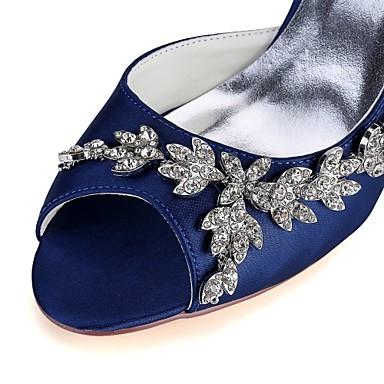 Cristal Basique Aiguille de Chaussures Satin Elastique Printemps Eté Talon minuit ouvert Escarpin 06474691 Bout Femme Bleu mariage de Chaussures 6HPxH1