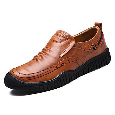 Hombre Zapatos Cuero Primavera & Otoño Confort Zapatos de taco bajo y Slip-On Negro / Marrón Claro / Morrón Oscuro uEvzX6u
