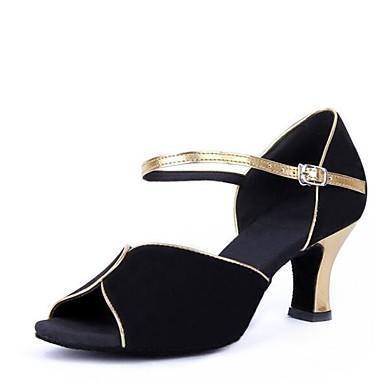 נעליים לטיניות קטיפה סנדלים עקב עבה מותאם אישית נעלי ריקוד שחור