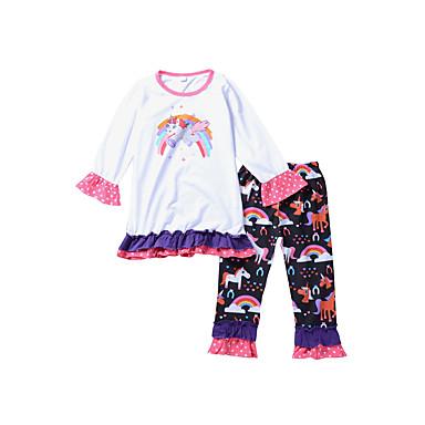 סט של בגדים כותנה שרוול ארוך קשת / חיה יום יומי בנות פעוטות / חמוד
