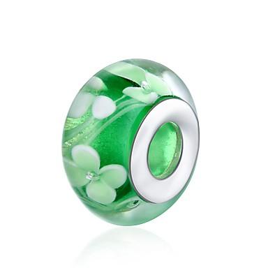 תכשיטים DIY 1 יח חרוזים זכוכית כסוף ירוק כדור חָרוּז 1.4 cm עשה זאת בעצמך שרשראות צמידים