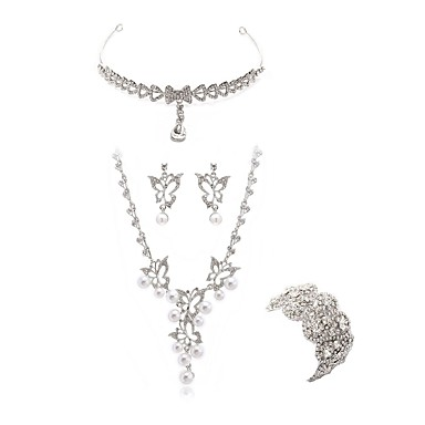 בגדי ריקוד נשים סט תכשיטים - יהלום מדומה פרפר ארופאי, אופנתי לִכלוֹל תכשיט מצח סטי תכשיטי כלה לבן עבור חתונה Party