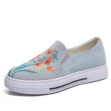 בגדי ריקוד נשים PU אביב / קיץ נוחות נעליים ללא שרוכים שטוח בוהן עגולה שחור / כחול