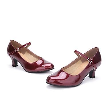 בגדי ריקוד נשים נעליים מודרניות עור עקבים פנינים עקב מותאם מותאם אישית נעלי ריקוד אדום