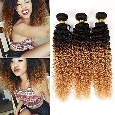 billige Ombré hårforlængelser-3 Bundler 4 pakker Brasiliansk hår Kinky Curly 10A Menneskehår Nuance 10-26 inch Nuance Menneskehår Vævninger Hot Salg Menneskehår Extensions / Kinky Krøller