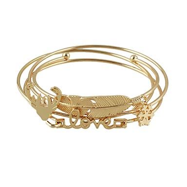 בגדי ריקוד נשים לַעֲרוֹם צמידים - Leaf Shape בסיסי, אופנתי צמידים זהב עבור יומי / פגישה (דייט)