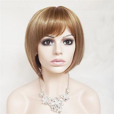 פאות סינתטיות ישר / Kinky Straight בלונד תספורת בוב / עם פוני שיער סינטטי שיער טבעי בלונד פאה בגדי ריקוד נשים קצר ללא מכסה תות בלונד / בלונדינית