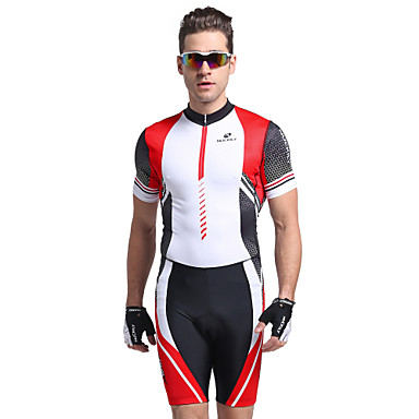 Nuckily Herrn Kurzarm Triathlonanzug - Rot Geometrisch Fahhrad Anatomisches Design, UV-resistant, Atmungsaktiv Polyester / Elasthan