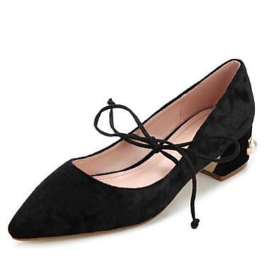 בגדי ריקוד נשים נעליים קטיפה אביב נוחות עקבים עקב עבה בוהן מחודדת / בוהן סגורה שחור / כחול / ורוד