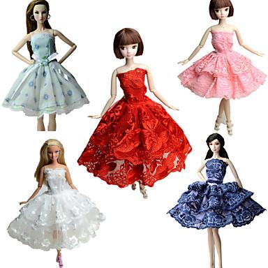 Fest/aften Kjoler Til Barbiedukke Blonde Satin Kjole Til Jentas Dukke