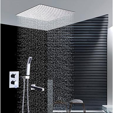 עכשווי התקנת קיר מקלחת גשם שפורפרת יד כלולה שסתום קרמי שתי ידיות ארבעה חורים כרום, ברז למקלחת