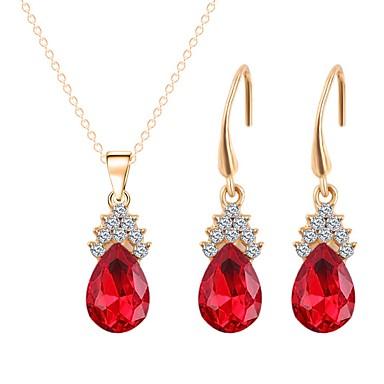 בגדי ריקוד נשים סט תכשיטים - ציפוי זהב מתוק, אופנתי לִכלוֹל שרשראות תליון אדום עבור יום הולדת יומי