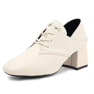בגדי ריקוד נשים נעליים PU אביב / קיץ נוחות עקבים חסום את העקב בוהן עגולה שחור / בז'